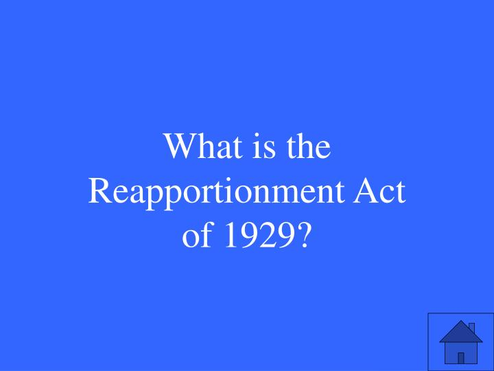 What is the Reapportionment Act of 1929?