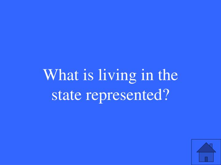 What is living in the state represented?