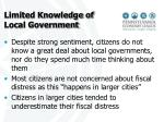 limited knowledge of local government