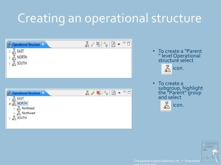 Creating an operational structure