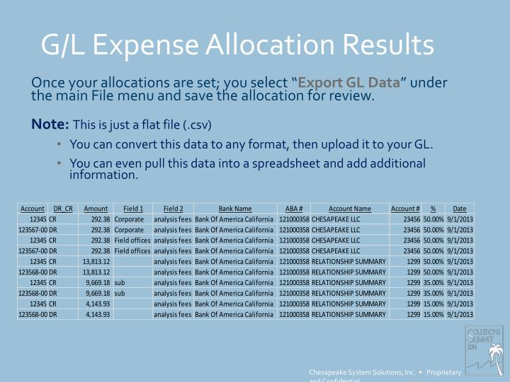 G/L Expense Allocation Results