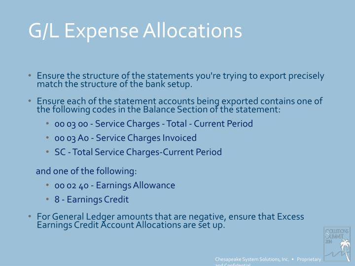 G/L Expense Allocations