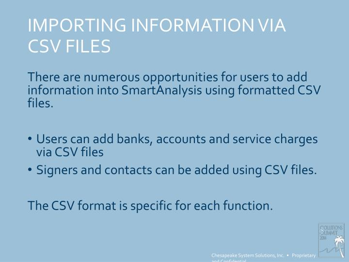 IMPORTING INFORMATION VIA CSV FILES