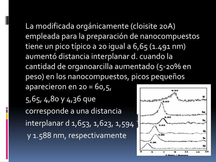 La modificada orgánicamente (cloisite 20A) empleada para la preparación de nanocompuestos tiene un pico típico a 20 igual a 6,65 (1.491 nm) aumentó distancia interplanar d. cuando la cantidad de organoarcilla aumentado (5-20% en peso) en los nanocompuestos, picos pequeños aparecieron en 20 = 60,5,