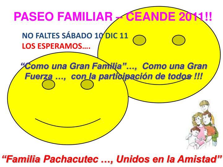 PASEO FAMILIAR – CEANDE 2011!!