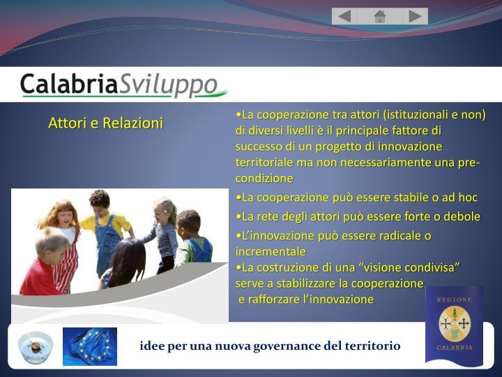 La cooperazione tra attori (istituzionali e non) di diversi livelli è il principale fattore di successo di un progetto di innovazione territoriale ma non necessariamente una pre-condizione