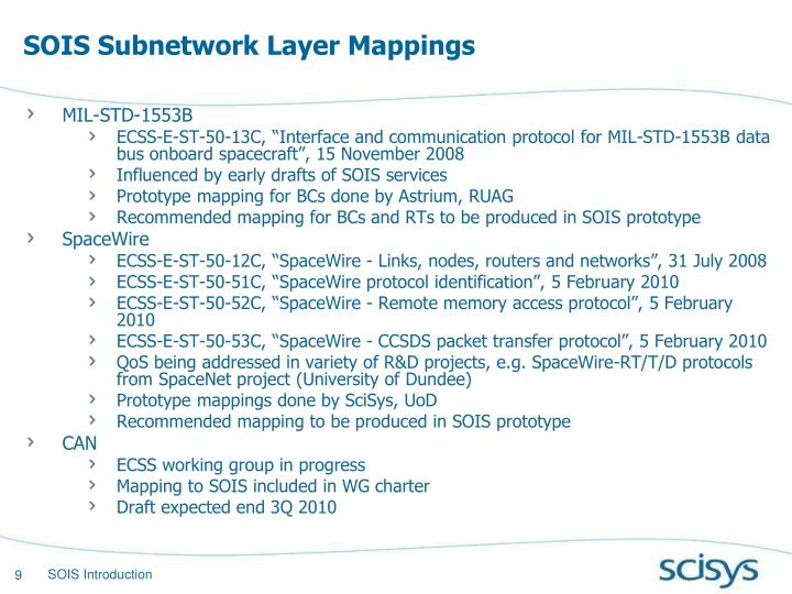 SOIS Subnetwork Layer Mappings