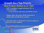growth as a top priority new product rollout as of 1q03