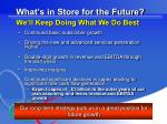 what s in store for the future we ll keep doing what we do best