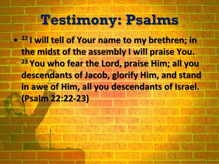 Testimony psalms1