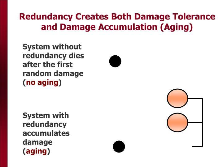 Redundancy Creates Both Damage Tolerance and Damage Accumulation (Aging)