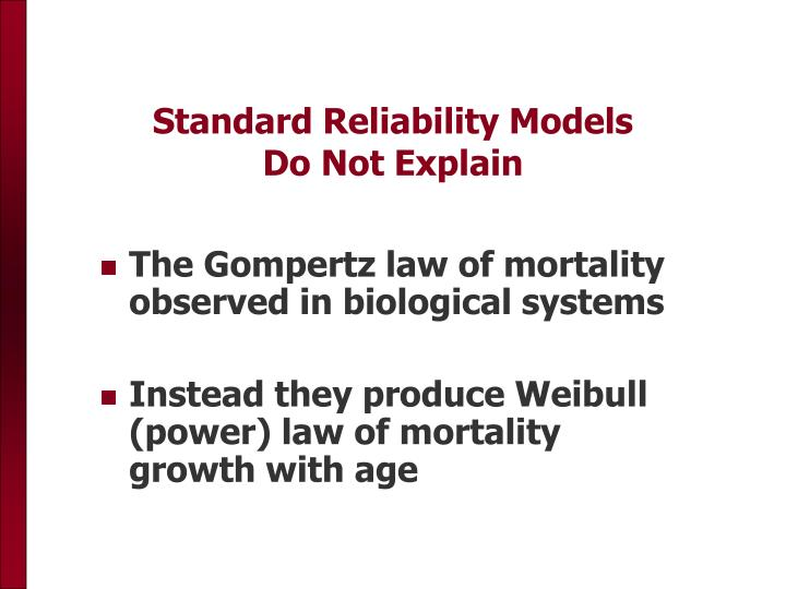 Standard Reliability Models