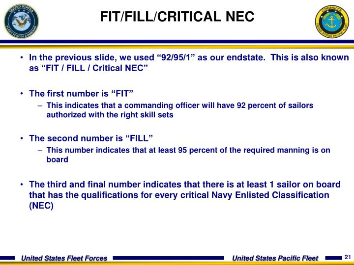 FIT/FILL/CRITICAL NEC