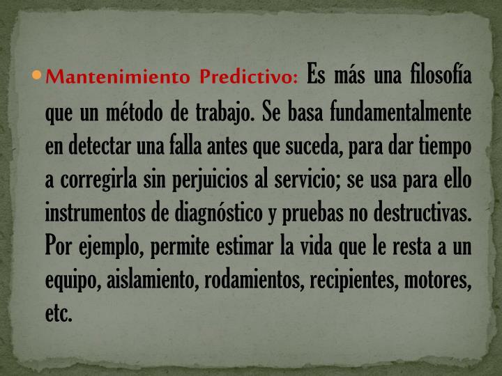 Mantenimiento Predictivo: