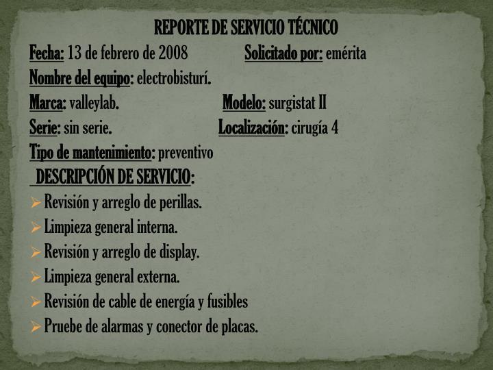 REPORTE DE SERVICIO TÉCNICO