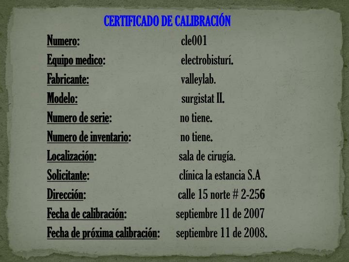 CERTIFICADO DE CALIBRACIÓN