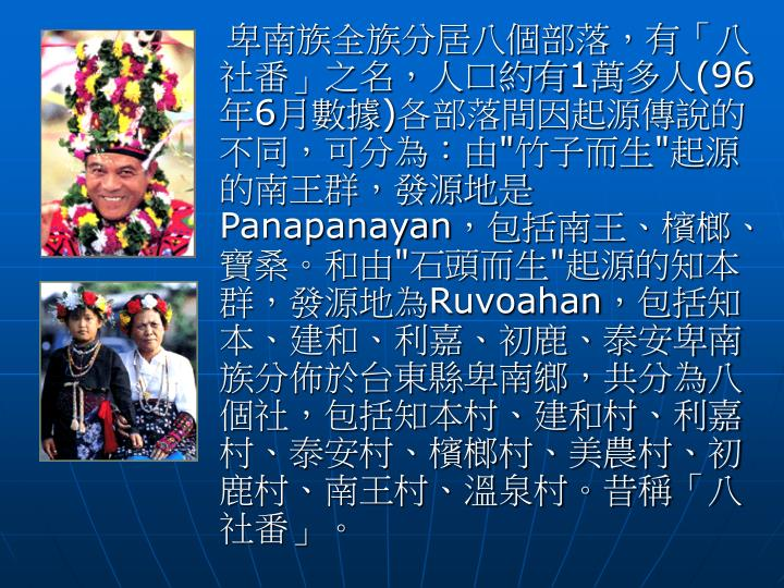 卑南族全族分居八個部落,有「八社番」之名,人口約有