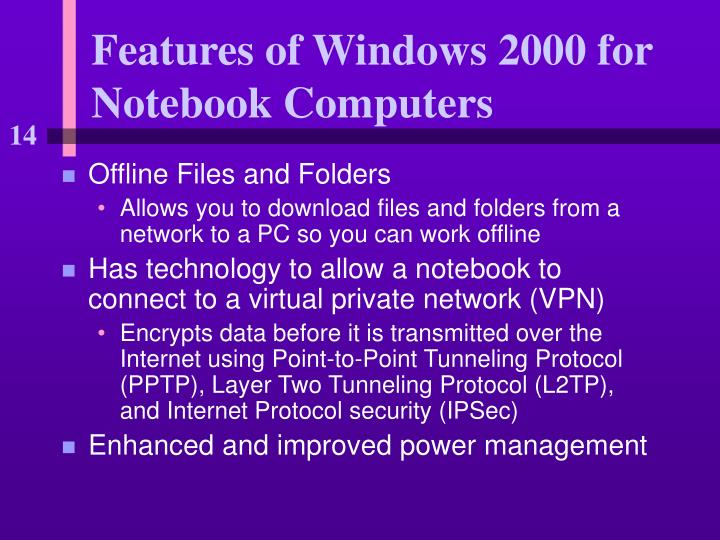 Features of Windows 2000 for Notebook Computers
