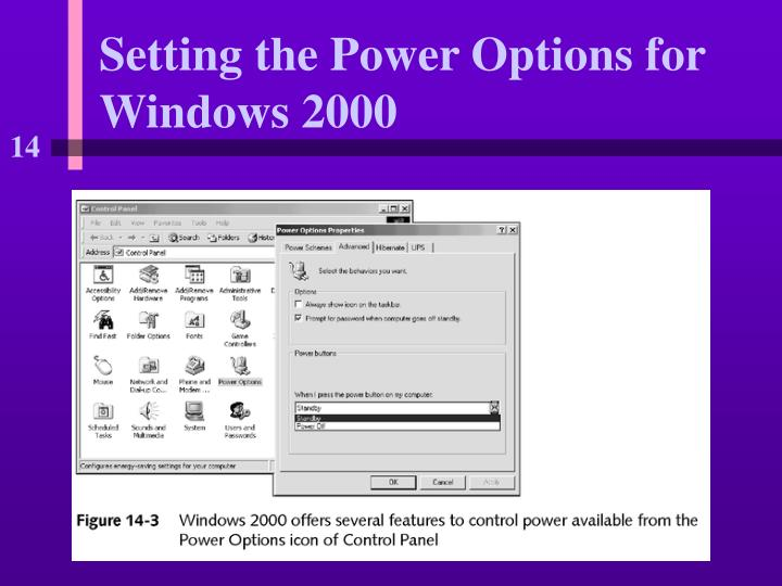 Setting the Power Options for Windows 2000