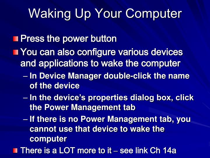 Waking Up Your Computer