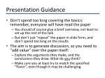 presentation guidance