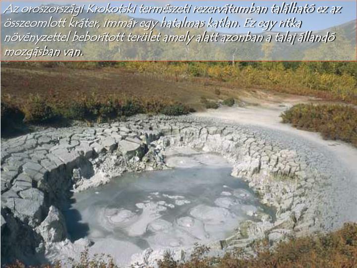 Az oroszországi Krokotski természeti rezervátumban található ez az összeomlott kráter, immár egy hatalmas katlan. Ez egy ritka növényzettel beborított terület amely alatt azonban a talaj állandó mozgásban van.