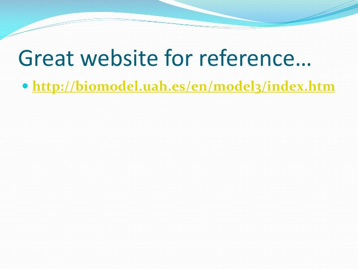 Great website for reference…