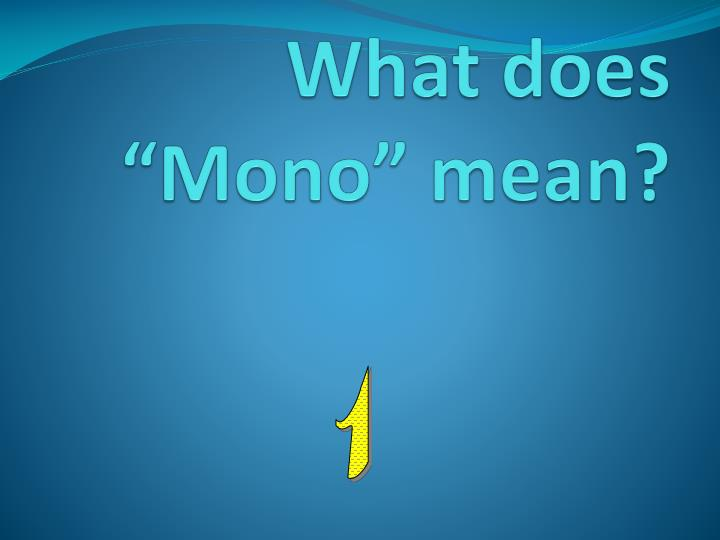 """What does """"Mono"""" mean?"""