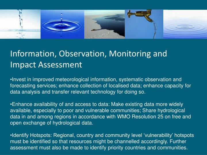 Information, Observation, Monitoring and Impact Assessment