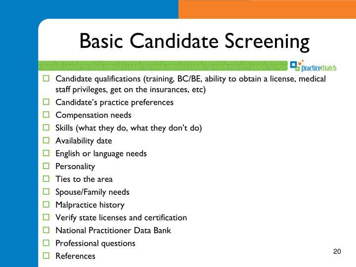 Basic Candidate Screening