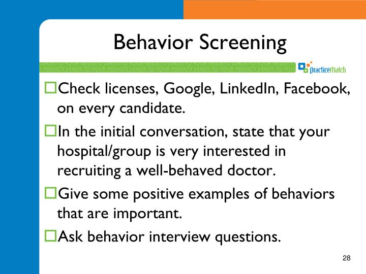 Behavior Screening