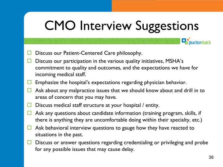 CMO Interview Suggestions