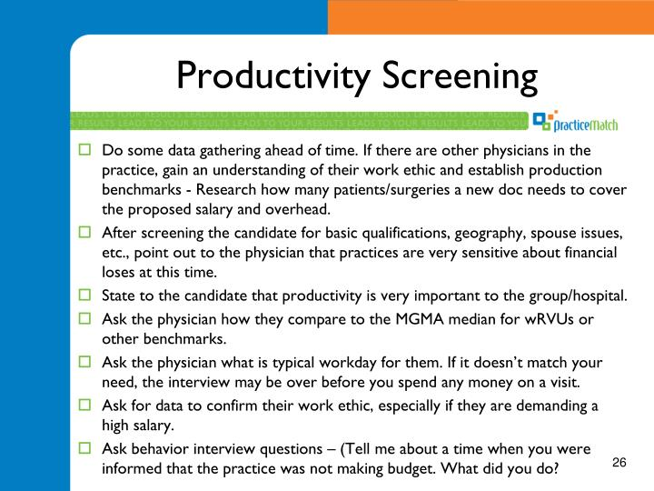 Productivity Screening