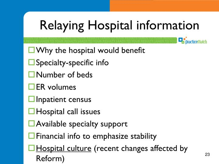 Relaying Hospital information