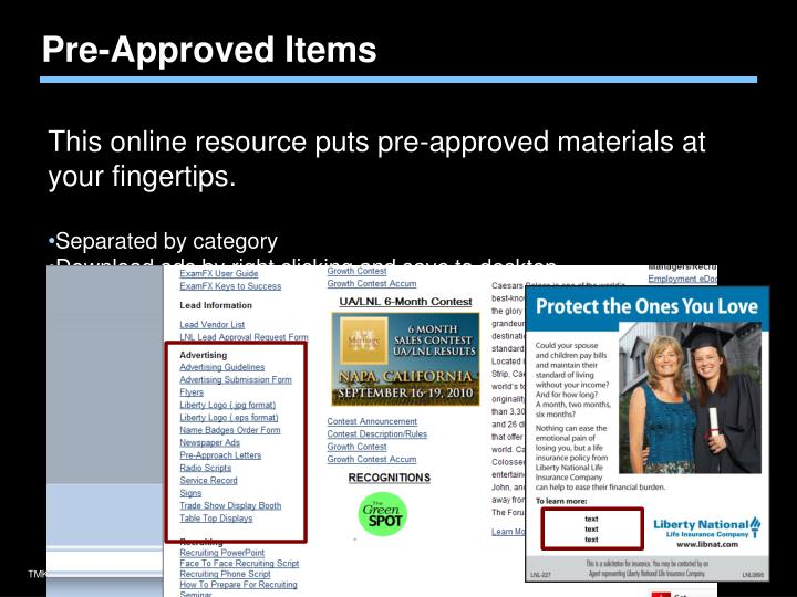 Pre-Approved Items
