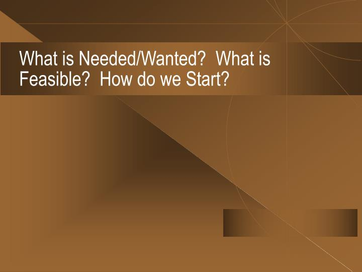 What is Needed/Wanted?  What is Feasible?  How do we Start?