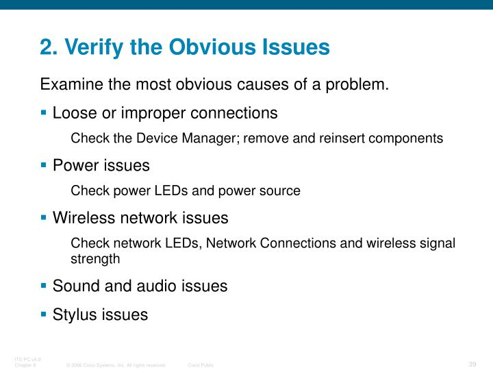 2. Verify the Obvious Issues