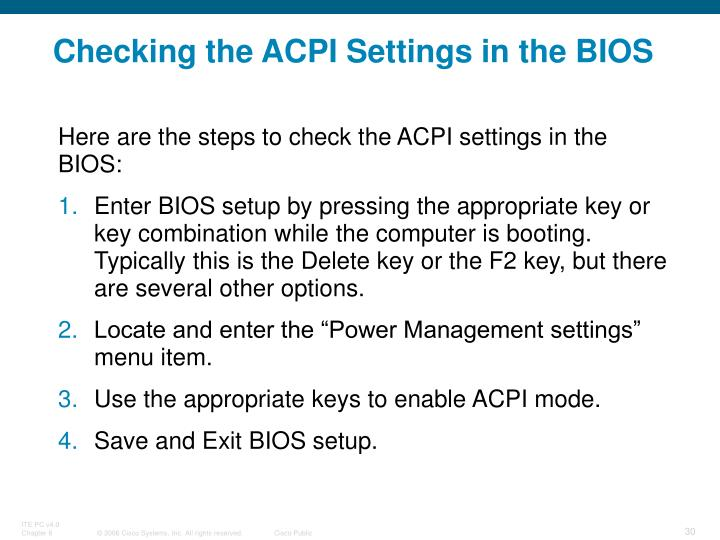 Checking the ACPI Settings in the BIOS