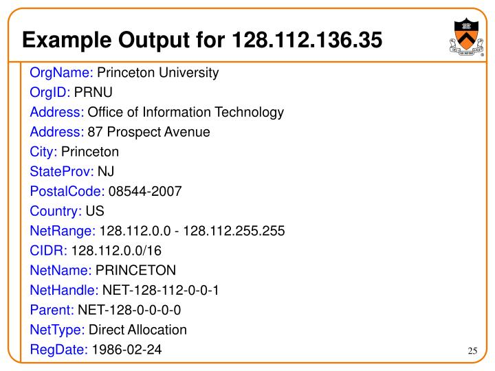 Example Output for 128.112.136.35