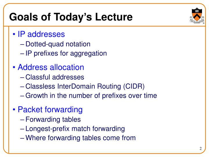 Goals of today s lecture