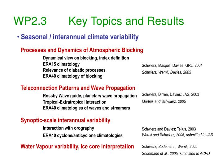 wp2 3 key topics and results n.