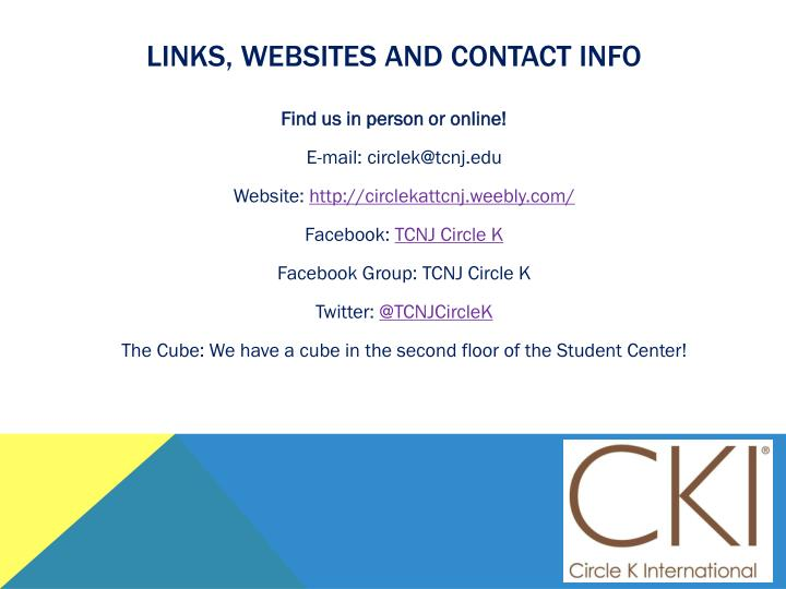 Links, websites and contact info