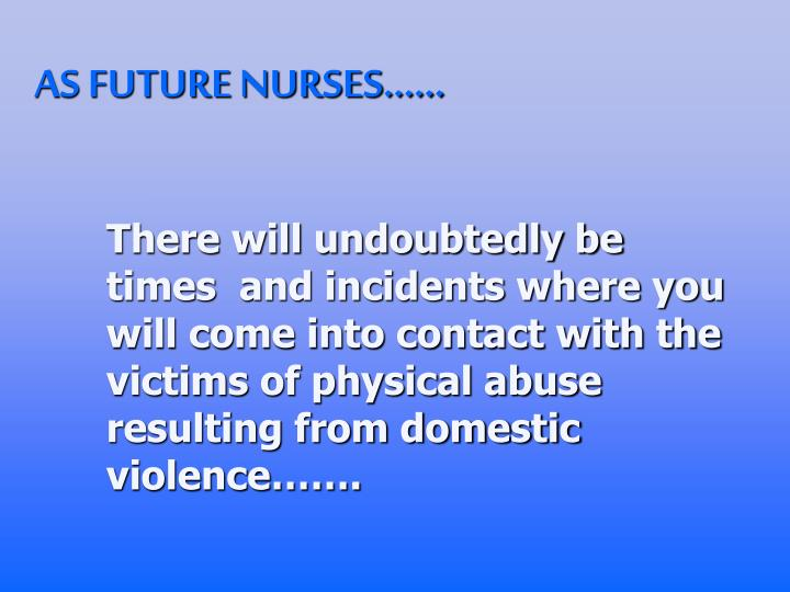 There will undoubtedly be times  and incidents where you will come into contact with the victims of physical abuse resulting from domestic violence…….