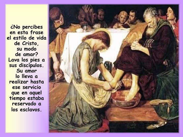 ¿No percibes en esta frase el estilo de vida de Cristo,