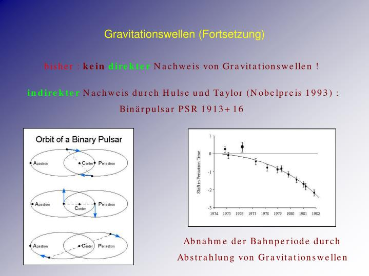 Gravitationswellen (Fortsetzung)