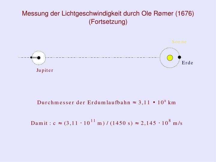Messung der Lichtgeschwindigkeit durch Ole Rømer (1676)