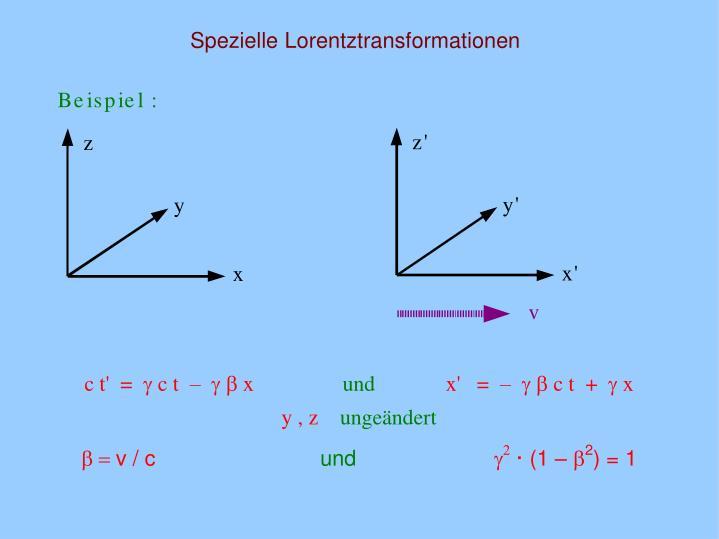 Spezielle Lorentztransformationen