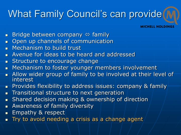 What Family Council's can provide