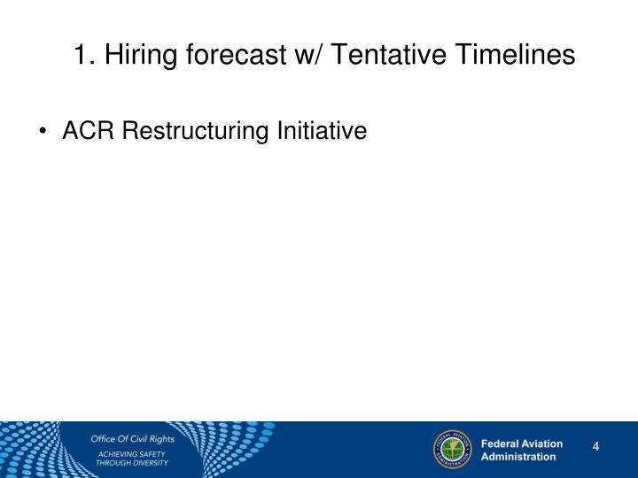 1. Hiring forecastw/ Tentative Timelines