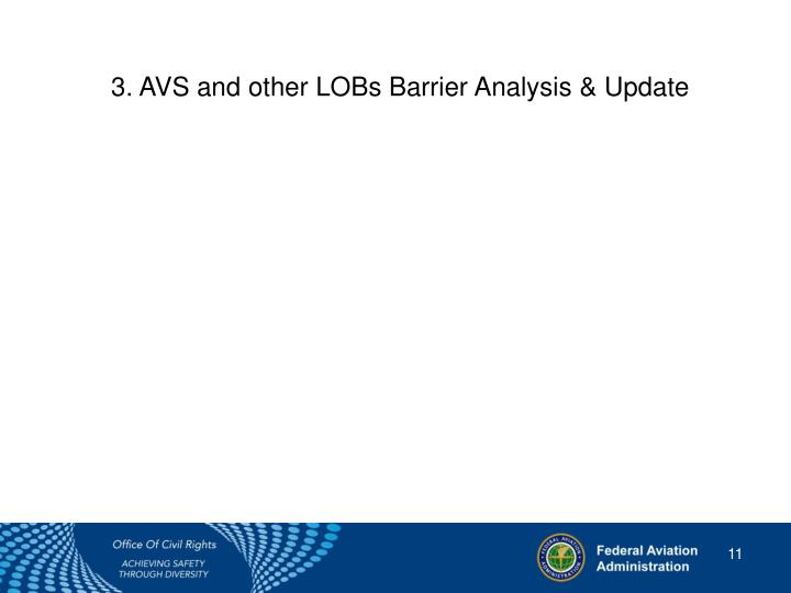 3. AVS and other LOBsBarrier Analysis & Update